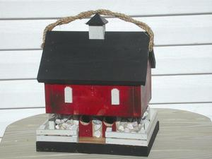 Amish Red Country Barn Bird House