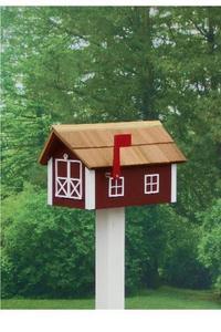 Amish Barn Style Mailbox with Cedar Shingle Roof