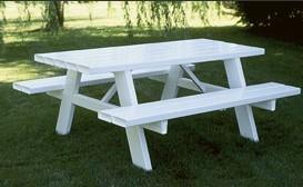 Amish Vinyl White 6' Picnic Table