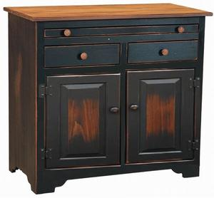 Amish Pine Kitchen Microwave Stand with Serving Pullout