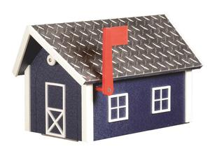 Amish-Made Wooden House Mailbox with Aluminum Roof