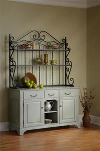 Amish French Country Kittrell Hutch with Bakers Rack