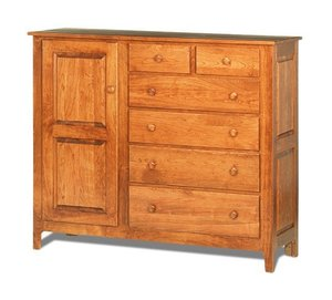 Amish Shaker Mule Chest with 1 Door and 6 Drawers