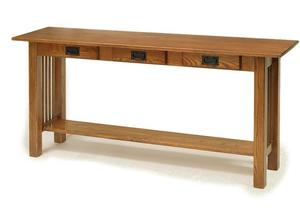 Amish American Mission Sofa Table with Three Drawers