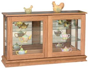 Large Amish Curio Cabinet with Sliding Doors