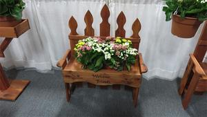 Amish Cedar Wood Welcome Friends Bench with Planter