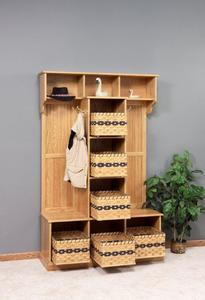 Amish Traditional Hall Bench with Storage Baskets