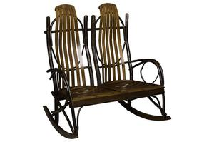 Amish Rustic Hickory Double Rocker | DutchCrafters Porch Rockers