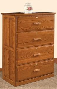 Amish Four Drawer Lateral File Cabinet