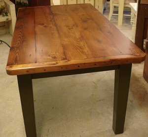 Amish Reclaimed Old Wood Plank Farm Table with Breadboard Ends