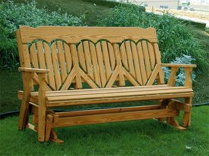 Amish Pine Wood High Back Heart Glider