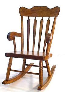 Amish Arrow-Back Oak Wood Kids' Rocking Chair