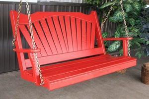Amish Pine Wood Fanback Porch Swing