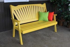 Amish Pine Wood Fanback Garden Bench