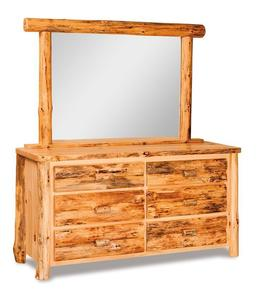 Amish Rustic Log Six Drawer Dresser with Optional Mirror