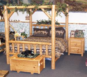 Amish Rustic Pine Log Canopy Bed