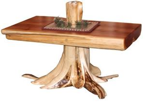 Amish Coffee Table with Stump Base