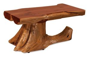 Amish Rustic Cedar Log Coffee Table with Stump Base
