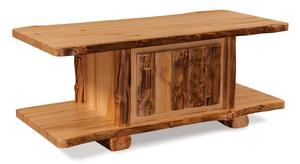 Amish Pine Log Coffee Table with Door