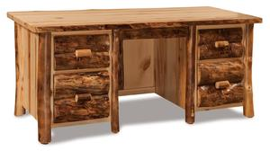 Amish Handcrafted Rustic Pine Executive Desk