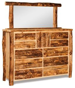 Amish Rustic Log 10 Drawer Dresser