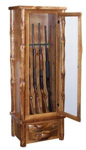 Amish Rustic Pine Log Six Gun Cabinet