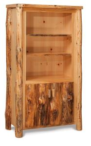 Rustic Log Furniture Bookcase with Doors