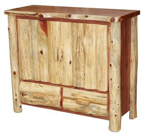 Amish Log Furniture TV Stand with Drawers