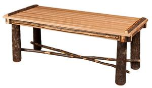 Amish Hickory Coffee Table with Slatted or Solid Top