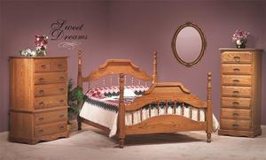 Amish Summit Oak Wood Three Piece Bedroom Furniture Set - American Made