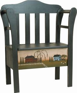 Amish Small Homestead Pine Bench with Lift Top Storage