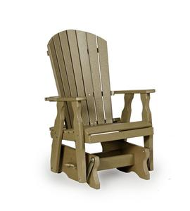 Amish Fan-Back Single Poly Lumber Patio Glider Chair