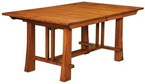 Amish Clark Mission Trestle Dining Table