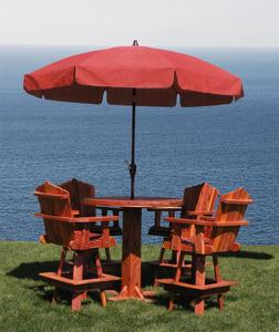 Amish Made Round Outdoor Cedar Wood Dining Table