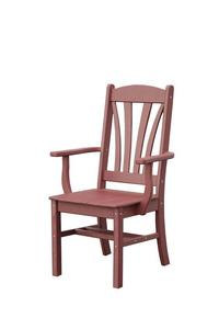Patio Fan Back Poly Dining Chair with Arms