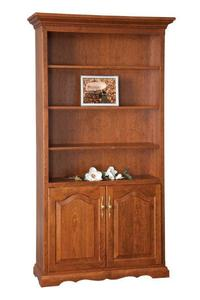 Amish Solid Wood Bookcase with Bottom Doors