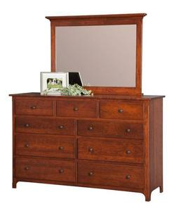 "Amish Plymouth 62"" Dresser with Optional Mirror"