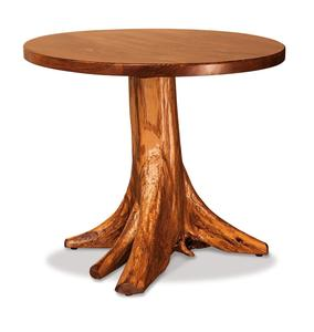 Amish Rustic Pine Round Stump Dining Table