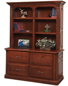 Amish Lexington Double Lateral File with Optional Bookshelf Hutch