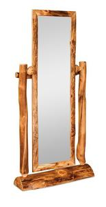 Amish Rustic Log Cheval Mirror with Half Stand