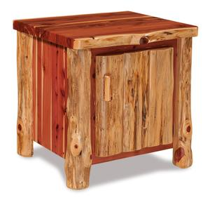 Amish Rustic Log End Table with Door