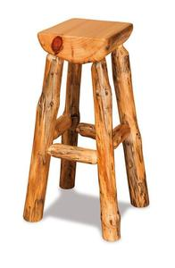 Amish Rustic Half Pine Log Bar Stool