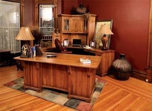 Amish Bentley Office Deluxe Executive Desk with Corner Work Station