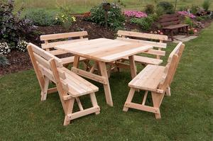 Amish Cedar Wood Square Table with Backed Benches