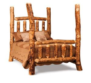 Amish Rustic Four Poster Log Bed