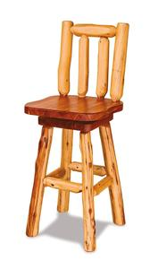 Amish Rustic Log Bar Stool with Swivel