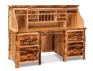 Amish Handcrafted Rustic Aspen Rolltop Desk