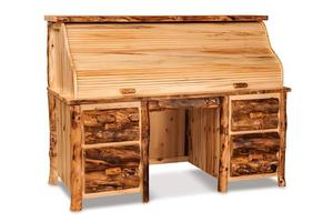 Amish Rustic Log Roll Top Desk