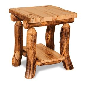 Amish Rustic Log End Table with Shelf