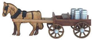 Walnut Open Amish Horse and Buggy with Milk Cans Toy